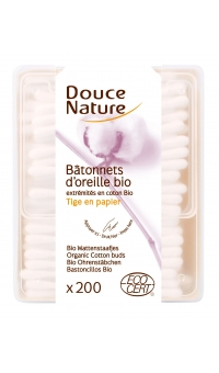 Ватные палочки из 100% органического хлопка, Douce Nature, 200шт