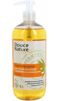 Шампунь и гель душ 2 в 1 с марсельским мылом и эфирными маслами Оливы и Цветка Апельсинового дерева из средиземноморья, 500мл